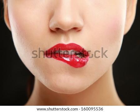 Woman red lips closeup - stock photo