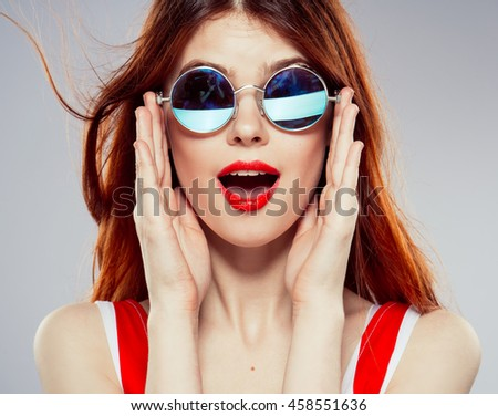 woman red lips. woman beautiful, red lips glasses,  a beautiful girl with glasses