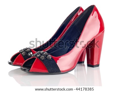 Woman Red Shoes On White Background