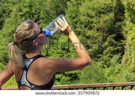 Woman refreshed - stock photo
