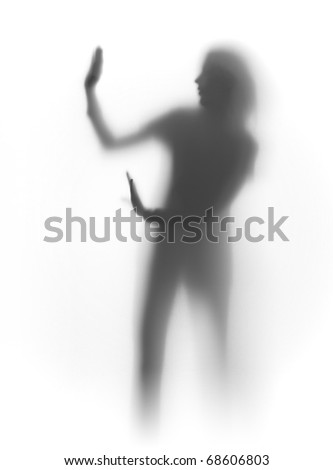 woman refuse, silhouette - stock photo