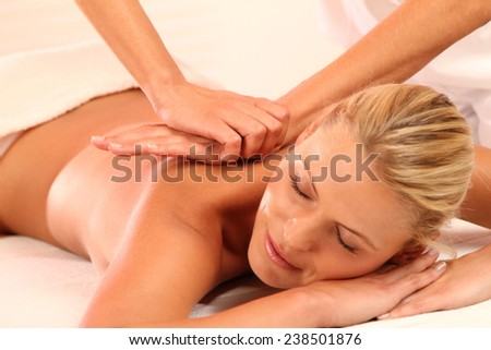 woman relax while a massage - stock photo