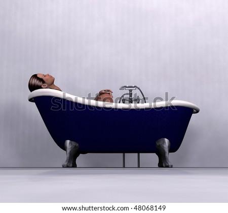 woman relaxing in bath - stock photo