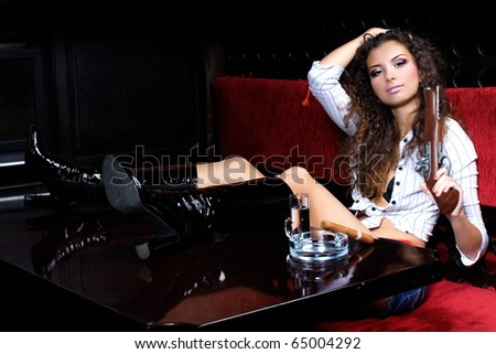 woman relaxing in chill-out - stock photo