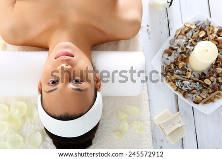 Woman relaxing in the spa, relaxation and meditation. Facials, beauty treatments, natural spa  - stock photo