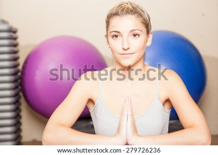 Woman relaxing in yoga - stock photo