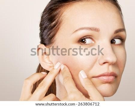 Woman, remove, facial. - stock photo
