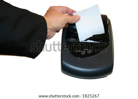 woman remove receipt from card machine