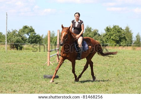 Woman riding on the chestnut horse