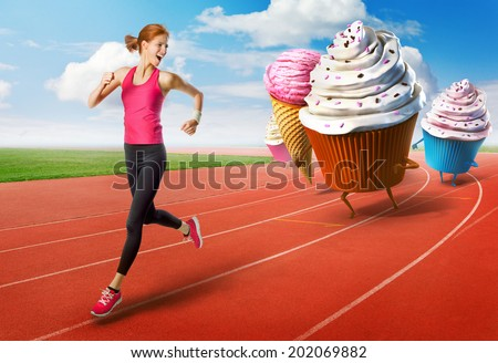 Woman running away from sweets