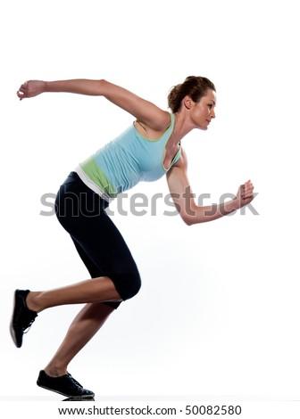 woman running on studio white isolated background - stock photo