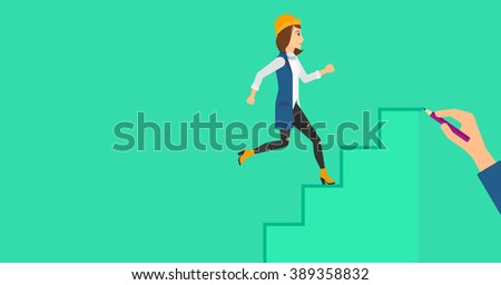 Woman running upstairs.