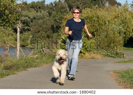 Woman running with her dog in the park - stock photo