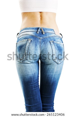 Woman's butt in slim fit jeans. Isolated on white background - stock photo