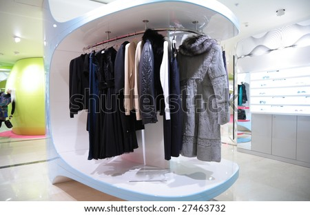 Woman`s clothes in shop - stock photo