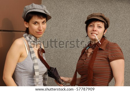woman's couple happy outdoor - stock photo