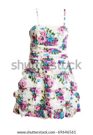 woman's dress with a floral pattern on a white background - stock photo