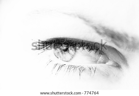 woman's eye in black and white