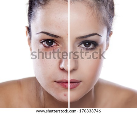 woman's face before and after makeup and digital editing - stock photo