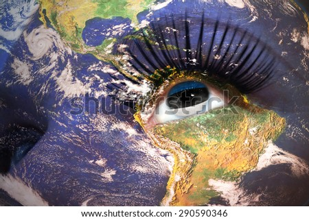 woman's face with planet Earth texture and estonian flag inside the eye. Elements of this image furnished by NASA. - stock photo