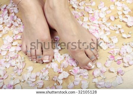 Woman's feet and rose petals closeup - stock photo