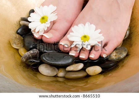 Woman's feet in bowl of water and rocks - stock photo