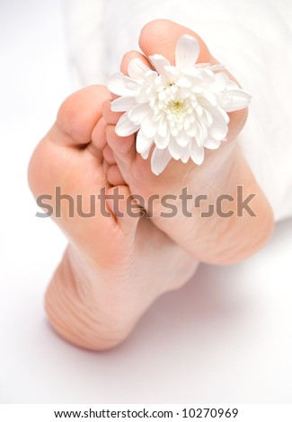 Woman's feet under the blanket - stock photo