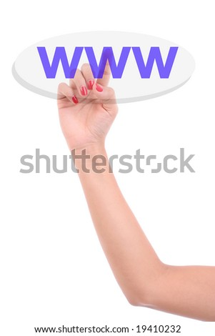 Woman's Finger pressing the WWW key - Isolated over white background - stock photo