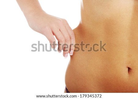 Woman's Fingers Touching her body parts, isolated on white background  - stock photo