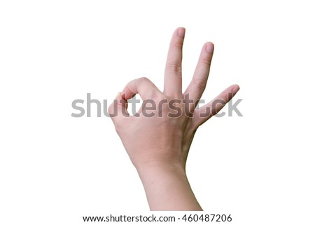 Woman's  hand doing okay sign isolated on white background with clipping path
