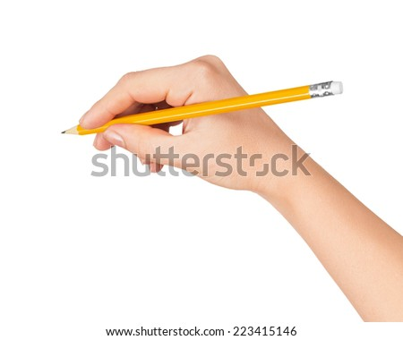 woman's hand draws a pencil on white isolation - stock photo