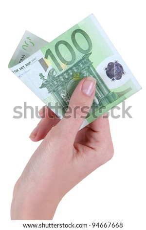 woman's hand gives one hundred euros - stock photo