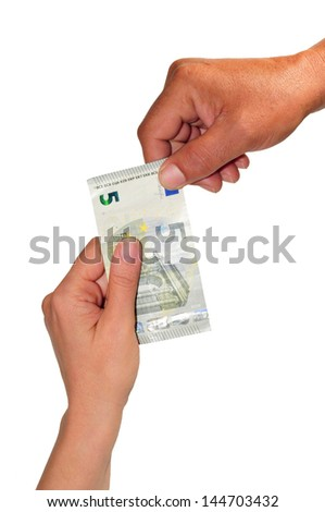 woman's hand giving a note of five Euros