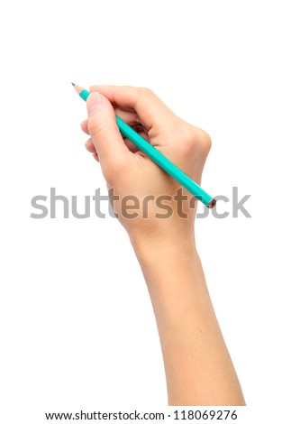 Woman's hand holding a pencil on a white background - stock photo