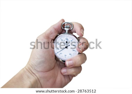 Woman's hand holding a production/stop watch. Isolated on a white background.