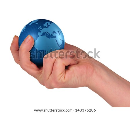woman's hand, holding a terraqueous globe of blue color - stock photo