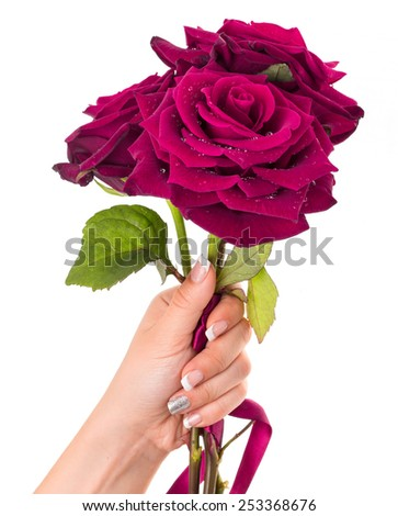 Woman's hand holding bouquet of three roses. - stock photo