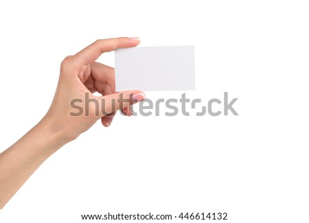 woman's hand holding card, isolated on white