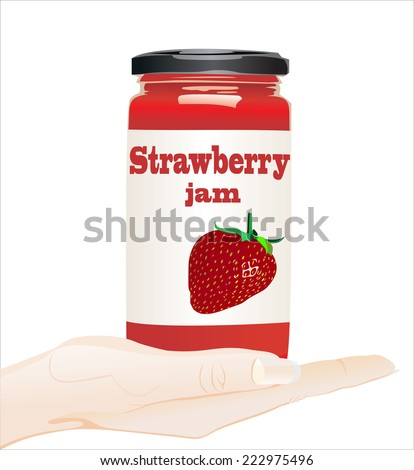 Woman's hand holding object- strawberry jam