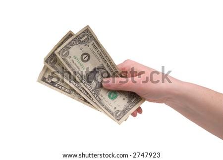 woman's hand holding U.S. paper money - stock photo