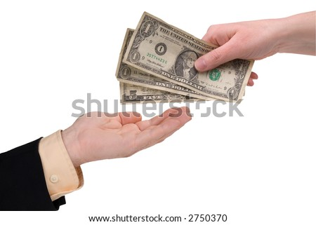 woman's hand holding U.S. paper money in front of a white background - stock photo