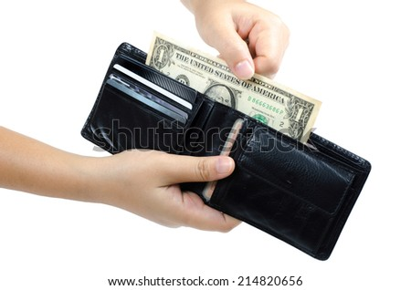 Woman's hand holding wallet with one dollar inside - stock photo
