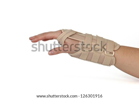 Woman's hand isolated on white. - stock photo