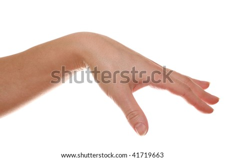 Woman?s hand isolated on white background