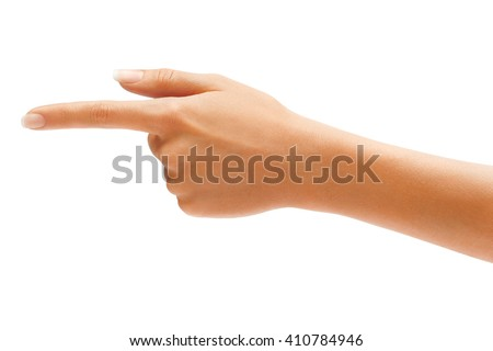 Woman's hand points a finger at something isolated on white background. High resolution product. Close up - stock photo