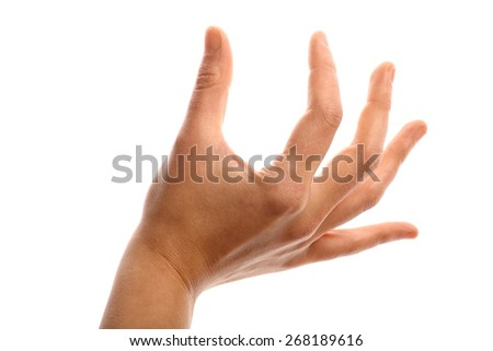 Woman's hand showing measurement with fingers over a white background.