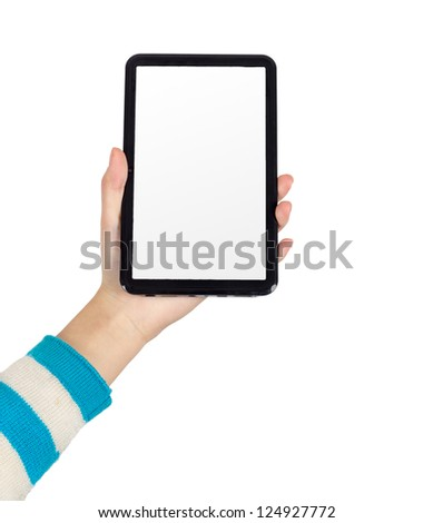 Woman's hand shows a Tablet PC - stock photo