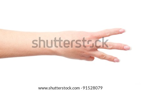 woman's hand shows three fingers isolated on white background