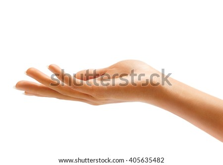 Woman's hand sign isolated on white background. Palm up, close up.