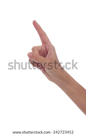 Woman's hand touching empty space - stock photo